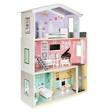 boppi Large Wooden Dolls House Barbie Size with Lift and 10 Play Accessories