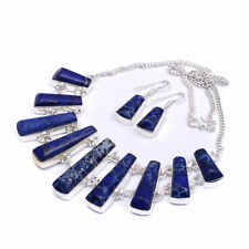 Dark Blue Sea Sediment Jasper Handmade Jewelry Necklace Set 16'' To 18'' zr169