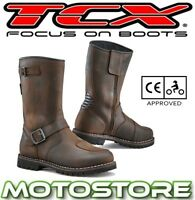 TCX FUEL WP BROWN TOURING WATERPROOF BOOTS MOTORCYCLE ADVENTURE BUCKLED