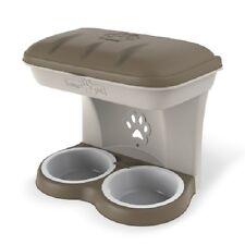 Ciotola doppia per cani Color tortora fissabile a parete muro Dog Bama Pet