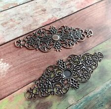 2 Filigree Cabochon Blanks Setting Stampings Antiqued Copper Tone 62mm