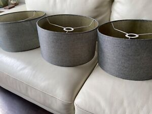 Beautiful drum lamp shade blue gray. 3 piece set great for hanging fixture