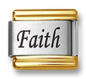 Italian Charm Bracelet Link Laser Word Faith Gold Trim 9mm Stainless Steel