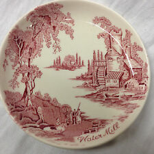 "JOHNSON BROTHERS ENGLAND THE OLD MILL PINK 4 1/4"" COASTER WATER MILL SCENE"