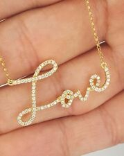 NEW 18K SOLID YELLOW GOLD PAVE DIAMOND LOVE SCRIPT WORD TEXT PENDANT NECKLACE