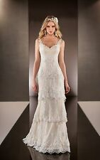 Elegant Spaghetti Strap Bridal Gown New Tiered Lace Wedding Dresses Custom Size