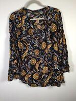 boohoo womens black floral blouse shirt size 16 long sleeve viscose good condt