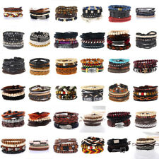 Men Women Wide Multilayer Leather Braided Bracelet Bangle Wristband Cuff Jewelry
