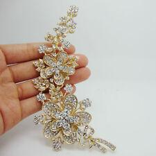 tone Brooch Pin Clear Rhinestone Crystal Luxury Rose Long Flower Leaf Gold