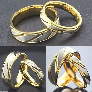 4mm 6mm Stainless Steel Gold & Silver Wedding Band - Mens Womens Ring  - J to Z1