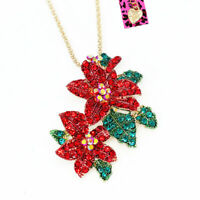 Betsey Johnson Red Enamel Crystal Flower Pendant Chain Necklace/Brooch Pin Gift
