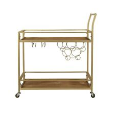FirsTime & Co Francesca Bar Cart ~ Gold Metal Wood with Wheels
