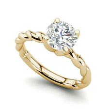 Cut Diamond Engagement Ring Yellow Gold Twist Solitaire 2.25 Carat Vvs1/D Round