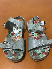 Girls Kids Rocket Dog Comfortable Silver and Cork Sandals Shoes Size 2