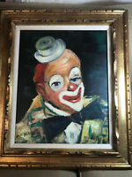 """Large Hosendyk """"Portrait Of A Clown"""" Oil Painting #2 - Signed And Framed"""