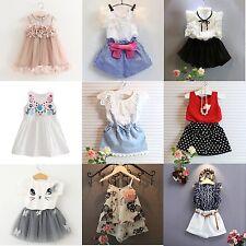 Toddler Kids Baby Girls Outfits Clothes T-shirt Tops+Pants/Shorts/Skirt 2PCS Set