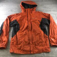 Columbia Orange Rain Jacket Medium Hood Waterproof Lightweight Packable Nylon