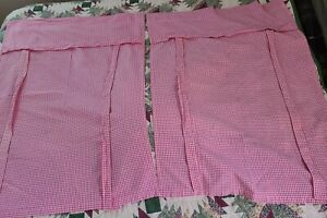 POTTERY BARN KIDS Pink GINGHAM Check RIBBON TIE Curtain Shade 2- Panels 31x42
