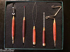 WASATCH TOOL 5 SET Cocobola Wood & Brass in Box -- BEAUTIFUL!! Fly Tying