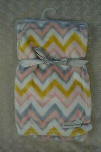 Blanket & Beyond Chevron Baby Blanket Pink White Gray Zig Zag Golden Yellow