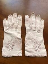 Gloves Pink Leather vintage gorgeous leaf pattern & edge stitching extra small