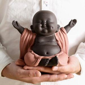 H13cm happy buddha yixing zisha purple clay tea pet home decoration on tea tray