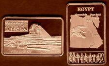 ★★★★ JOLI LINGOT PLAQUE BRONZE ● L'EGYPTE, SPHINX, PYRAMIDES, CROCODILE ★★★★★