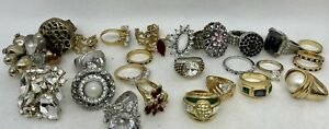 LOT OF 27 Vintage to Modern Rings: Cocktail, 14KGF, Eternity, More! .99 START