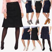 Womens Ladies Denim Skirt Vintage Classic Pencil Knee Stretch Long Plus Size