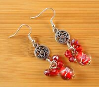 1 Handmade Red Pair of Hand Blown Glass Dangle Earrings with Colour Beads #462