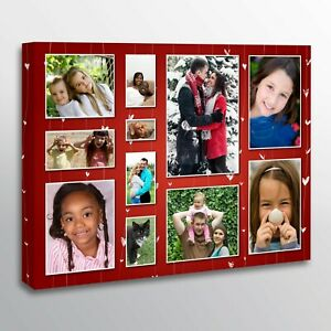 Custom Photo Collage Canvas. Personalised Pictures to Grid Collage. Pine Framed
