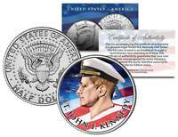 Lieutenant JOHN F KENNEDY Flowing Flag Colorized JFK Half Dollar U.S. Coin