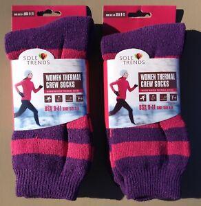2x Women SOLE TRENDS Warm Winter Thermal Socks Purple & Pink Stripes Size 9-11
