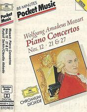 Mozart Rudolf Serkin LSO Abbado  Piano Concertos Nos12 21 27 CASSETTE DG POCKET