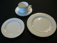 Lenox 'Floral Veil' Bone China Flat Cup w/Saucer, Salad, Bread & Butter in EC