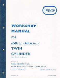 Triumph Bonneville Tiger Workshop Manual  TR6 T120 650  UK USA 1971-1973 99-0947