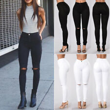 Womens High Waist Ripped Distressed Slim Denim Pants Boyfriend Jeans Trousers