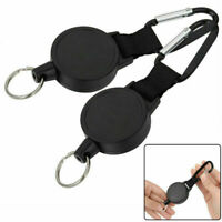2x Retractable Recoil Key Ring Chain Pull Holder Reel Belt Clip Extend Keyring