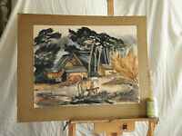 Mid Century 'HORSES ON THE FARM' _ Giroux Vintage Watercolor Painting