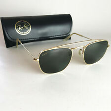 Vintage Ray Ban USA B&L STYLE 5 Sunglasses gold square caravan echelon aviator