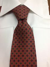 $295.00 KITON NAPOLI 7 FOLDS BROWN GEOMETRIC PATTERNED WOVEN SILK NECK TIE