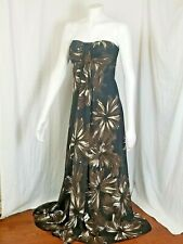White House | Black Market Brown Strapless Floral Maxi Dress Size 8