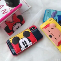 for iPhone Xs Max 8 7 X Minnie Mickey Disney Wallet Case Leather Card Slot Cover