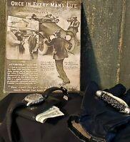 VINTAGE COLT PISTOL REVOLVER GUN ADVERTISING DEFENSE AMMO CANVAS SIGN 8 X 10
