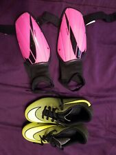 Nike Kids 13c boys girls Soccer Cleats Shoes and small shin guards. Great shape!