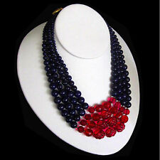 Jay Strongwater 4 St Red Berry Molded & Purple Art Glass Bead Statement Necklace
