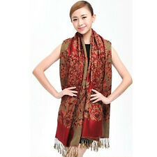 Chic Maroon Cashmere Pashmina Womens Scarves Jacquard Stole Shawl Wrap Scarf
