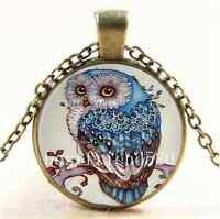 Vintage Beautiful Owl Photo Cabochon Glass Bronze Chain Pendant Necklace