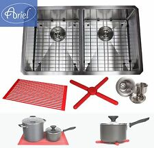 """Ariel 32"""" 15mm Radius Stainless Steel Double 50/50 Bowl Kitchen Sink Combo 16G"""