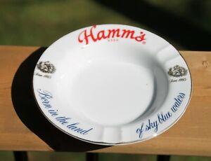 Vintage HAMM'S Beer Land Of Sky Blue Water Porcelain ManCave Ashtray